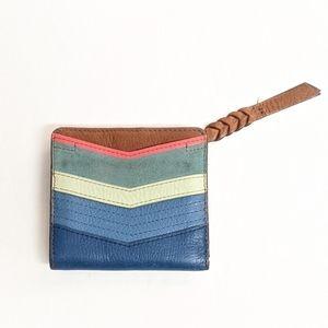 Vintage Fossil Bifold Wallet Brown & Blue Chevron